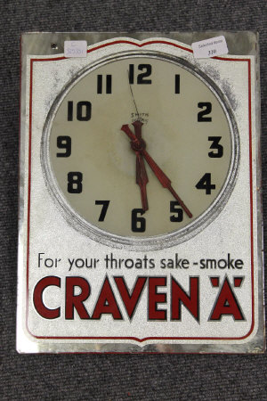 An early twentieth century advertising clock - Craven 'A' For your throats sake-smoke, 36 cm x 27 cm.