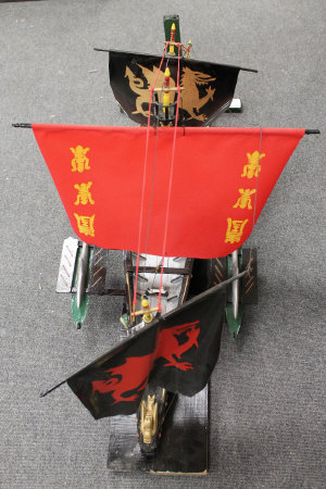 A model galleon on stand, length 120 cm.