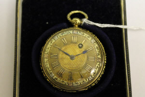 An 18ct gold Georgian pocket watch by Bruce, Cranbourn Street, with tri-coloured gold dial.
