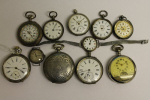 A collection of eight silver pocket watches, two silver wrist watches and an 8-day Hebdomas pocket watch. (11)