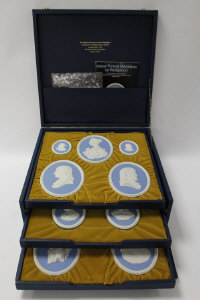 A collection of fourteen Wedgwood portrait medallions, in blue and white jasper ware, limited edition 192/200, boxed.
