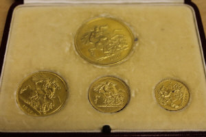 A George VI 1937 gold specimen coin set from £5 to half sovereign, cased.