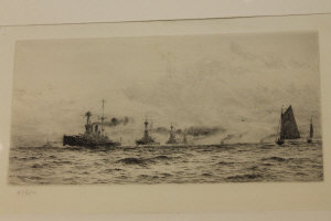William Lionel Wyllie : Dreadnaught in line ahead formation with bi-plane above, drypoint etching, signed in pencil, with margins, 17 cm x 35 cm, framed.