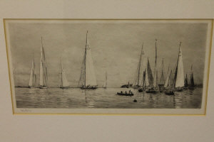 William Lionel Wyllie : 8 and 12 metre yachts becalmed off Cowes, drypoint etching, signed in pencil, with margins, 17 cm x 35 cm, framed.