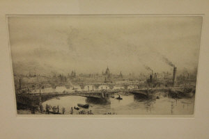 William Lionel Wyllie : Westminster Bridge and the City of London, drypoint etching, signed in pencil, with margins, 22 cm x 38 cm, framed.
