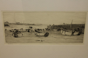 William Lionel Wyllie : Cullercoates, drypoint etching, signed in pencil, with margins, 16 cm x 37 cm, framed.
