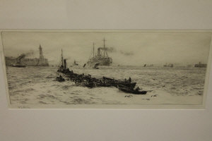 William Lionel Wyllie : Tynemouth, drypoint etching, signed in pencil, with margins, 16 cm x 37 cm, framed.