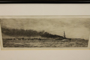 William Lionel Wyllie : The Battle of Jutland, drypoint etching, signed in pencil, with margins, 17 cm x 42 cm, framed.