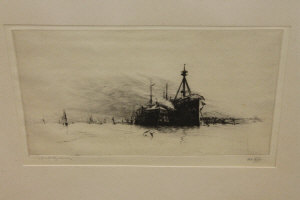 Harold Wyllie : Foudrouant training ship in Portsmouth Harbour, drypoint etching, signed in pencil, numbered CII, with margins, 15 cm x 25 cm, framed.