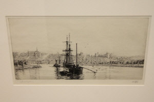 Harold Wyllie : Arundel from the Arun, drypoint etching, signed in pencil, numbered CII, with margins, 16 cm x 30 cm, framed. <BR>