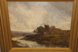 Attributerd to John Falconer Slater : Windmill by a river with arched bridge beyond, oil on board, 36 cm x 40 cm, framed.
