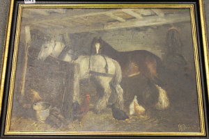 R. Sayer : Two horses with hens in a stable, oil on board, signed, dated '21, 44 cm x 60 cm, framed.