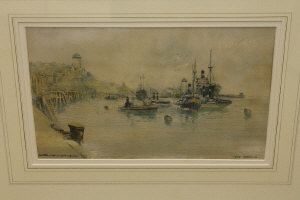 Victor Noble Rainbird : Tyne Harbour, watercolour, signed, dated 1933, 23 cm x 36 cm, framed.