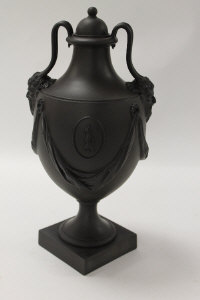 A Wedgwood classical shaped vase, in black basalt, height 32 cm, boxed.