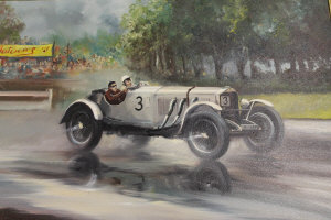 Dion Pears : No.3 Mercedes racing at Phoenix Park, oil on canvas, signed, 60 cm x 90 cm, framed.