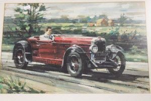 Dexter Brown : A classic open-top sports car on a country road, watercolour and gouache, signed, 33 cm x 51 cm, framed.