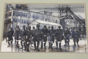 Tom Dack : Pitmen at the colliery, watercolour, signed, 30 cm x 47 cm, framed.