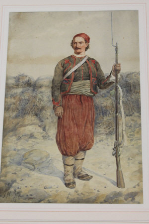 John Henry Mole : Full length portrait of a soldier with rifle and bayonet fixed, watercolour, signed, dated 1876, 41 cm x 28 cm, framed.