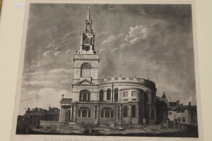 After Robert Hardy : An east view of All Saints church, Newcastle upon Tyne, aquatint by Robert Pollard, published in 1799, 36 cm x 42 cm, framed.