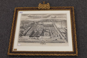 Johannes Kip after Leonard Knyff : The seat of the Honourable Sir William Blackett with part of the town of Newcastle upon tyne, engraving, 32 cm x 48 cm, in an ornate gilt composition frame.