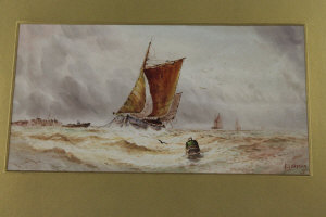 F. Grayson : Coming in on a full swell, watercolour, signed, 19 cm x 36 cm, framed.