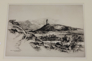 Albany E. Howarth : Abbey Craig and Wallace Monument from Stirling Castle, drypoint etching, signed in pencil, with margins, 25 cm x 35 cm, framed.