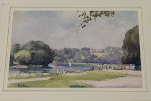 Frank Sherwin : On the Thames, watercolour, signed, 26 cm x 41 cm, framed.