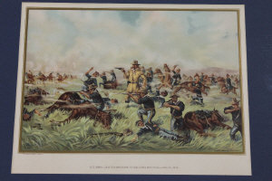 The Werner Company (Publisher) : U.S. Army - Custer massacre at Big Horn - June 25, 1876, chromolithograph, 23 cm x 33 cm, together with three similar forming a set of four, all parts framed. (4)
