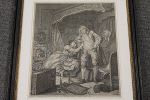William Hogarth : A couple in a chamber, engraving, published in 1736, 38 cm x 31 cm, togerther with the companion piece, both parts framed. (2)