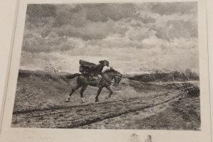 Abel Mignon after Meissonier : A blacksmith shoeing a horse, engraving, with engraved remarque, signed in pencil by the engraver, 34 cm x 44 cm, together with another similar also after Meissonier, both parts framed. (2)