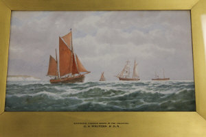 George Stanfield Walters : Ramsgate fishing boats in the Channel, watercolour, signed, 24 cm x 42 cm, framed.