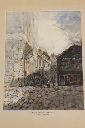 George Horton : A bit of old Shields, watercolour, signed, 35 cm x 26 cm, framed.