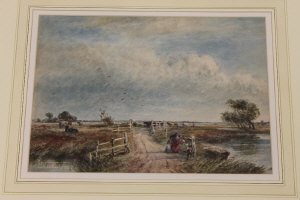 David Cox : A family in an open landscape with heardsmen and cattle beyond, watercolour, 25 cm x 35 cm, framed.