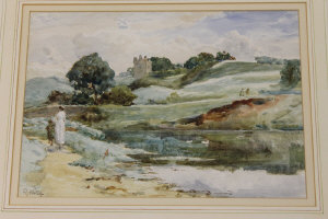 Robert Jobling :  Figures  by a river in an open landscape, watercolour, signed, 26 cm x 36 cm, framed.