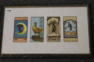 Twentieth century School : Public Houses, eight pieces of illustrator's original art work in watercolour, each 16 cm x 8 cm, framed overall as two. (2)