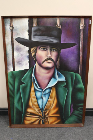 Eric Scott : Butch Cassidy, acrylic on board, signed, dated 1969, 120 cm x 90 cm, framed.