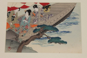 Toyohara Chikanobu : Three geishas on a boat, woodcut in colours, 23 cm x 32 cm, framed.