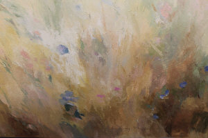 Lindsay Mullen : Abstract study of flowers in a meadow, oil on canvas, signed, 160 cm x 250 cm, un-framed.