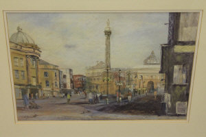 J. D. Scott : Grey's Monument, Newcastle upon Tyne, colour chalks, signed in pencil, 31 cm x 44 cm, framed.