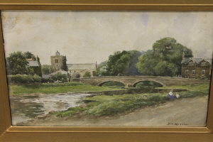 P.T. Murray : The River Pont at the Diamond Inn, watercolour, signed, 31 cm x 48 cm, framed.