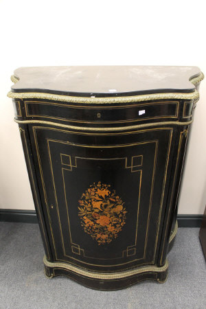 A French serpentine fronted ormolu mounted, marble topped and inlaid side cabinet, width 98 cm.