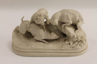 A Copeland parian study of three dogs hunting, width 31 cm.