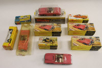 Six Dinky Lady Penelope's Fab 1 models 100, together with four other Dinky vehicles, partly boxed. (10)