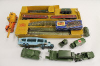 A Hornby Dublo electric train set, partly boxed, together with nine Dinky vehicles. (Q)