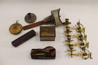 A small group of collectibles including Victorian gilt brass sconces, stereocard viewer, lawn tennis tape measure etc. (Q)