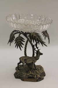 A nineteenth century silver plated naturalistic comport with cut glass bowl, height 22 cm.