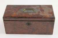A nineteenth century burr walnut box for storing harp strings, with key, width 27 cm.