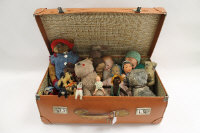 A collection of dolls and vintage soft toys including A Dean's rag book Lupino lane figure, miniature Armand Marseille doll, Chad Valley doll, Chad Valley rabbit, Mohair bear etc. (Q)