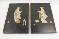 A pair of late Victorian Japanese panels with ivory inlay, depicting Geisha, width 25.5 cm. (2)