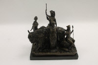 After Masier - A bison and figure group, bronze study on black marble plinth, width 33 cm.